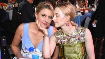 SANTA MONICA, CA - MARCH 03:  Actor/filmmaker Greta Gerwig (L) and actor Saoirse Ronan attend the 2018 Film Independent Spirit Awards on March 3, 2018 in Santa Monica, California.  (Photo by Araya Diaz/Getty Images)