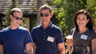 SUN VALLEY, ID - JULY 12: (L-R) Mark Zuckerberg, chief executive officer of Facebook, Dan Rose, vice president, partnerships at Facebook, and Sheryl Sandberg, chief operating officer of Facebook, attend the annual Allen & Company Sun Valley Conference, July 12, 2018 in Sun Valley, Idaho. Every July, some of the world's most wealthy and powerful businesspeople from the media, finance, technology and political spheres converge at the Sun Valley Resort for the exclusive weeklong conference. (Photo by Drew Angerer/Getty Images)