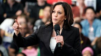 FILE - In this Sunday, May 19, 2019 file photo, Democratic presidential candidate Sen. Kamala Harris, D-Calif., talks during her first campaign organizing event at Los Angeles Southwest College in Los Angeles. Democratic presidential hopefuls, including Harris, Sen. Bernie Sanders, I-Vt., and Sen. Elizabeth Warren, D-Mass., are among the candidates coming to court thousands of party faithful at the California Democratic Party convention on Saturday, June 1, 2019. (AP Photo/Richard Vogel, File)