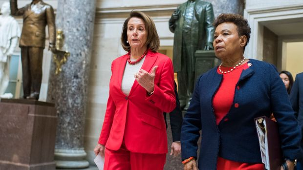 UNITED STATES - JANUARY 16: Speaker Nancy Pelosi, D-Calif., left, and Rep. Barbara Lee, D-Calif., are seen in the Capitol's Statuary Hall on Wednesday, January 16, 2019. (Photo By Tom Williams/CQ Roll Call)