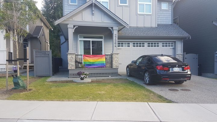 One of the many houses in the neighbourhood displaying a pride flag after Ebenal's was removed by the township.