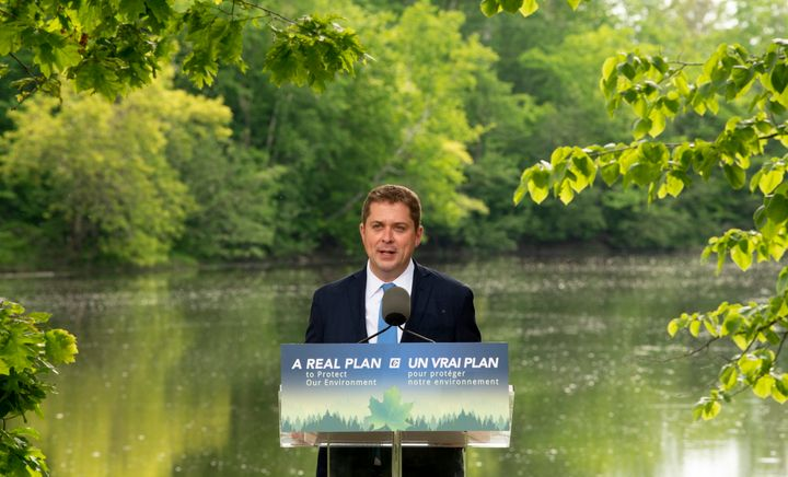 Conservative Leader Andrew Scheer delivers a speech on the environment in Chelsea, Que. on June 19, 2019.