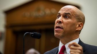 UNITED STATES -  JUNE 19: Democratic Presidential candidate Sen. Cory Booker, D-NJ, testifies about reparations for the descendants of slaves during a hearing before the House Judiciary Subcommittee on the Constitution, Civil Rights and Civil Liberties, at the Capitol in Washington on Wednesday June 19, 2019. (Photo by Caroline Brehman/CQ Roll Call)