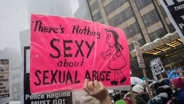 NEW YORK, NY - [December 9, 2017]: Protest sign that says THERE's NOTHING SEXY about SEXUAL ABUSE at #METOO rally on December 9,  2017 in New York City. (Photo by Bill Tompkins/Getty Images)