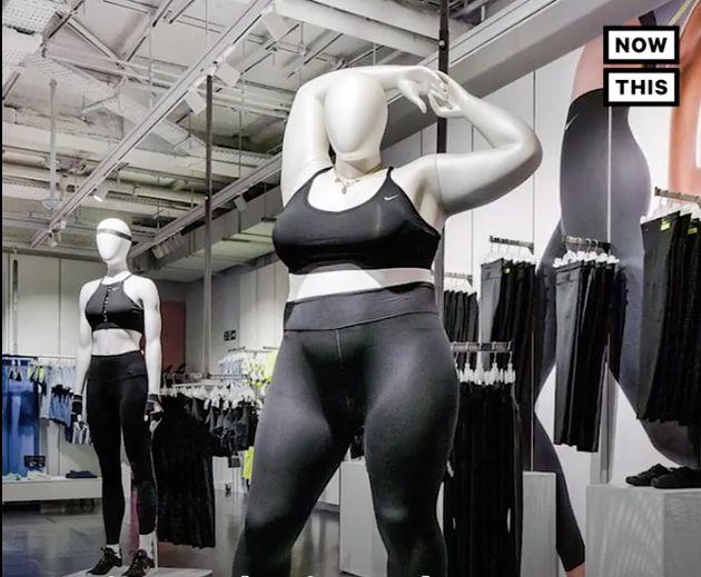 英・ロンドンの「ナイキタウン」の女性向けフロアに展開された、大きなサイズのマネキン