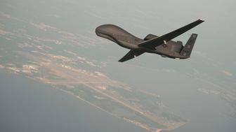 A RQ-4 Global Hawk drone is conducting tests over Naval Air Station Patuxent River, Maryland, U.S. in this undated U.S. Navy photo.   Courtesy Erik Hildebrandt/Northrop Grumman/Handout via REUTERS ATTENTION EDITORS - THIS IMAGE HAS BEEN SUPPLIED BY A THIRD PARTY.