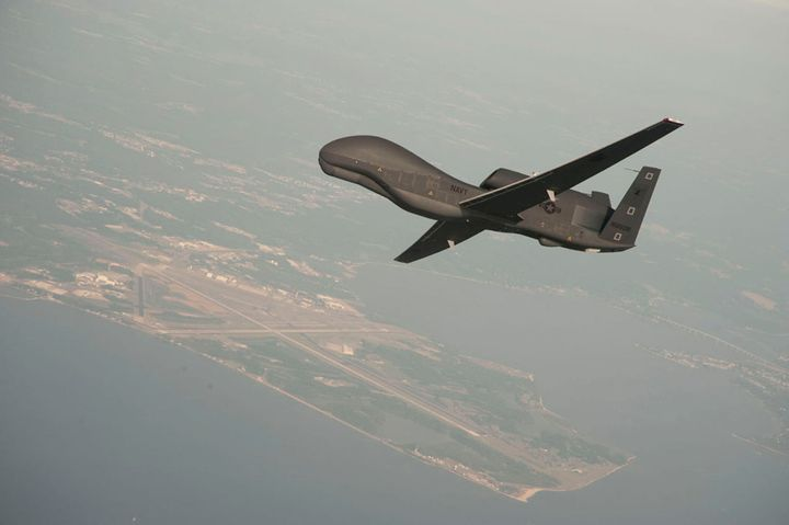 The RQ-4 Global Hawk unmanned aircraft system (UAS) can fly at high altitudes for more than 30 hours, gathering near-real-tim