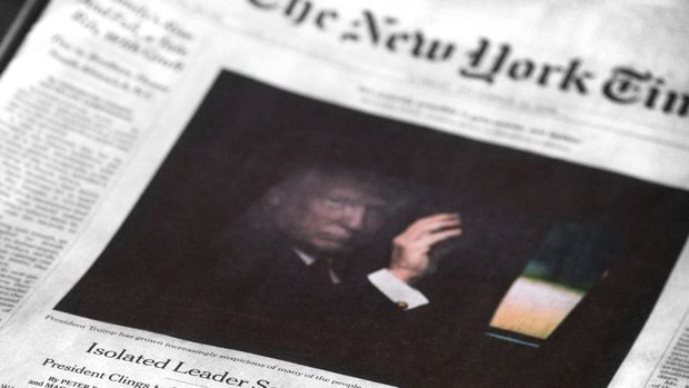 SANTA FE, NEW MEXICO - DECEMBER 24, 2018: A copy of the December 23, 2018 edition of The New York Times features a front-page article by Peter Baker and Maggie Haberman referring to U.S. President Donald Trump as an isolated leader who sees 'a war every day.'  (Photo by Robert Alexander/Getty Images)