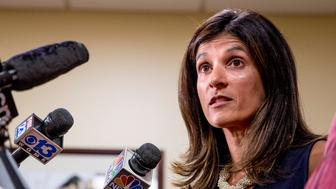 PORTLAND, ME - AUGUST 26: Rep. Sara Gideon of Freeport addresses the media at One City Center in Portland Friday, August 26, 2016 to respond to the obscenity-laced voicemail Gov. Paul LePage left for Rep. Drew Gattine of Westbrook on Thursday morning. (Photo by Gabe Souza/Portland Press Herald via Getty Images)