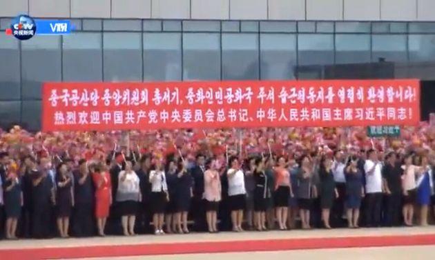 외국 정상에게는 처음으로 금수산광장서 '시진핑 환영식'이