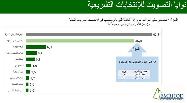 Sondage Emrhod consulting: 42,8% des Tunisiens ne savent pas pour qui voter aux législatives, Nabil Karoui...
