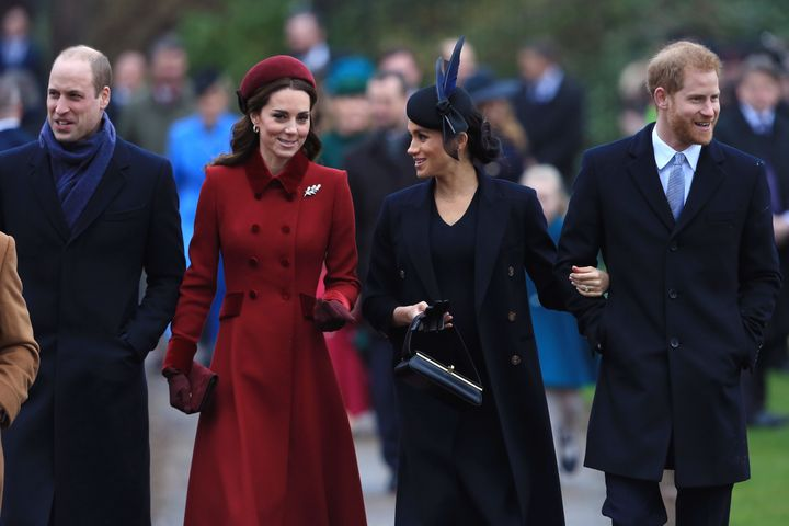 The royals arrive at Church of St. Mary Magdalene on the Sandringham estate for the Christmas Day service in 2018.