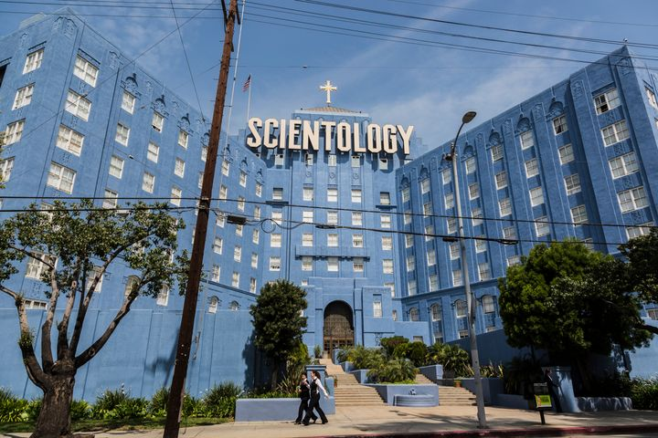 An archival photo shows a Church of Scientology building on Sunset Blvd. in Los Angeles.