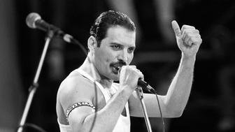 Freddie Mercury, of the pop band Queen, performing on stage during the Live Aid concert.   (Photo by PA Images via Getty Images)