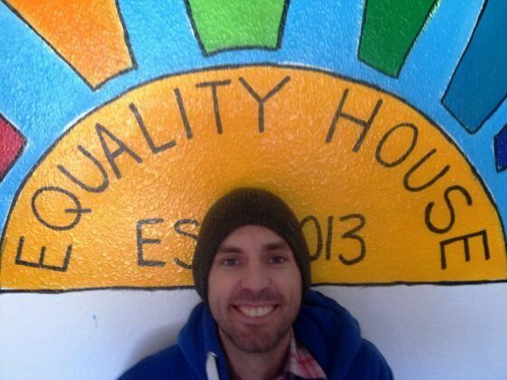Aaron Jackson, founder of Planting Peace, outside the Equality House.