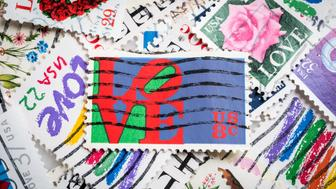 Miami, Florida, USA - June 6, 2015: Cancelled Stamp From The United States Featuring stamps showing assorted love related images