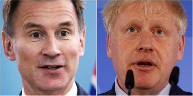 Jeremy Hunt y Boris Johnson, en sendas imágenes de