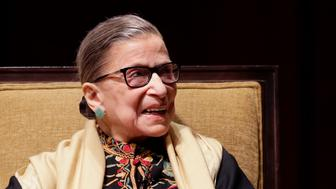 """Supreme Court Justice Ruth Bader Ginsburg is interviewed at the University of Michigan in Ann Arbor, Mich., Friday, Feb. 6, 2015. Ginsburg spoke to more than 3,000 people as part of a national series of lectures in the field of human values. She explained her legal philosophy by saying the U.S. Constitution, like society, """"can evolve"""" over time. (AP Photo/Carlos Osorio)"""
