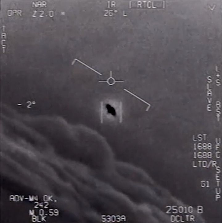 An encounter between a Navy F/A-18 Super Hornet and an unknown object is pictured after its video was releasedby the De