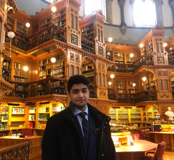 Issa Ahmed, a 16-year-old student and member of No Fly List Kids, is photographed at the Library of Parliament in Ottawa.
