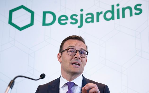 Desjardins president and CEO Guy Cormier delivers a statement during a news conference in Montreal, Thurs....