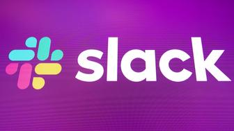 NEW YORK, NY - JUNE 20: The logo for Slack is displayed on the a monitor at the New York Stock Exchange (NYSE), June 20, 2019 in New York City. The workplace messaging app Slack will list on the New York Stock Exchange this morning. Shares of Slack were surging more than 60 percent over its reference price in early afternoon trading. (Photo by Drew Angerer/Getty Images)