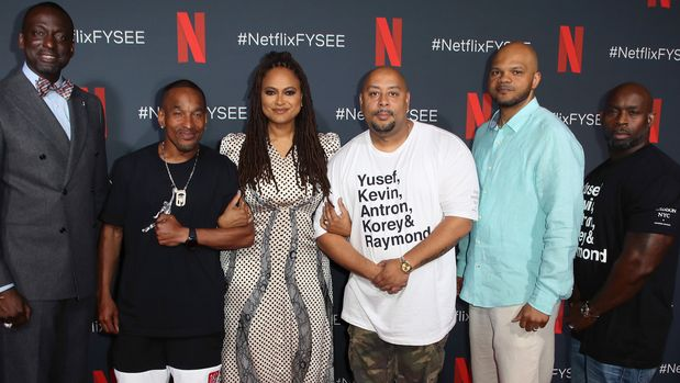 """LOS ANGELES, CALIFORNIA - JUNE 09: (L-R) Yusef Salaam, Korey Wise, Ava DuVernay, Raymond Santana, Kevin Richardson and Antron McCay attend Netflix's FYSEE event for """"When They See Us"""" at Netflix FYSEE at Raleigh Studios on June 09, 2019 in Los Angeles, California. (Photo by David Livingston/Getty Images)"""
