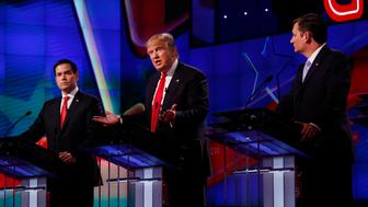 MIAMI, FLORIDA - MARCH 10, 2016:  The four remaining Republican primary candidates Marco Rubio, Donald Trump, Ted Cruz, and John Kasich take part in a debate at the University of Miami on March 10, 2016, hosted by CNN and the Washington Times. (Photo by Carolyn Cole/Los Angeles Times via Getty Images)