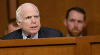 US Republican Senator John McCain asks questions to Attorney General Jeff Sessions (unseen) during a US Senate Select Committee on Intelligence hearing on Capitol Hill in Washington, DC, June 13, 2017. US Attorney General Jeff Sessions vehemently denied Tuesday that he colluded with an alleged Russian bid to tilt the 2016 presidential election in Donald Trump's favor. / AFP PHOTO / SAUL LOEB        (Photo credit should read SAUL LOEB/AFP/Getty Images)