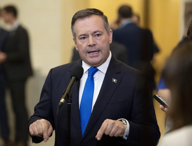 Alberta Premier Jason Kenney speaks to reporters in Ottawa on May 2,