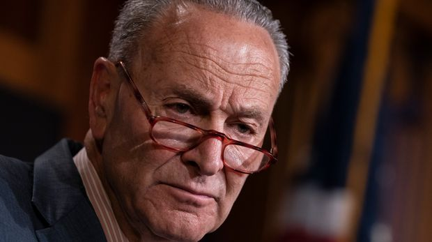 Senate Minority Leader Chuck Schumer, D-N.Y., talks to reporters at the Capitol in Washington, Tuesday, June 18, 2019. (AP Photo/J. Scott Applewhite)