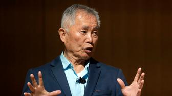 """Actor George Takei, best known for his role as Hikaru Sulu on the television series Star Trek, speaks Tuesday, May 8, 2018, about his experiences in U.S. internment camps during World War II, at an appearance at Boston Public Library, in Boston. Takei used his family's story as the inspiration for the Broadway musical """"Allegiance."""" (AP Photo/Steven Senne)"""