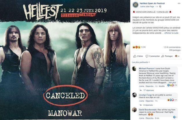 Le groupe Manowar a annulé son concert au Hellfest 2019 ce vendredi 21 juin