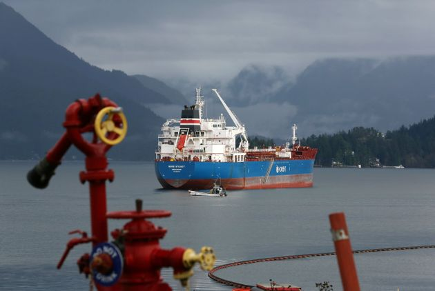 The Nord Steady, a chemical and oil tanker, is seen here in the waters near Burnaby, B.C., in