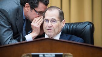 """UNITED STATES - JUNE 20: Chairman Jerrold Nadler, D-N.Y., talks with counsel Norman Eisen during a House Judiciary Committee hearing titled """"Lessons from the Mueller Report, Part II: Bipartisan Perspectives,"""" in Rayburn Building on Thursday, June 20, 2019. (Photo By Tom Williams/CQ Roll Call)"""