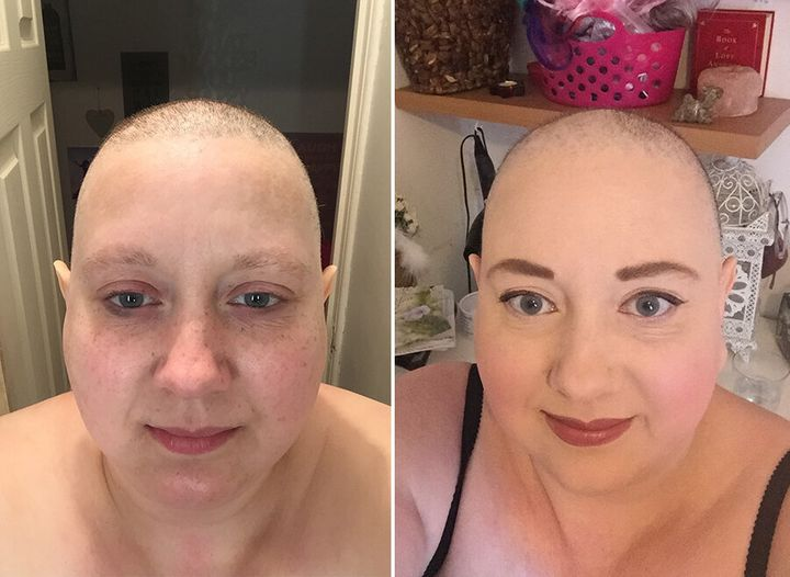 Anita without make-up (left), and without her wig (right)