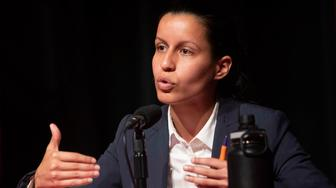 In this Thursday, June 13, 2019, photo public defender Tiffany Caban speaks during a Queens District Attorney candidates forum at St. John's University in New York. (AP Photo/Mary Altaffer)