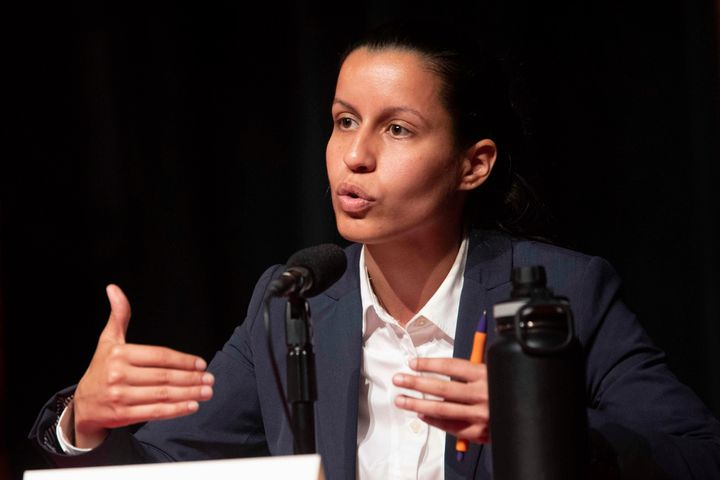 Tiffany Cabán speaks during a Queens district attorney candidates forum on June 13. If elected, she would be New York