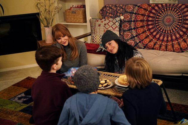 Nicole Kidman e Shailene Woodley com Iain Armitage e Nicholas e Cameron