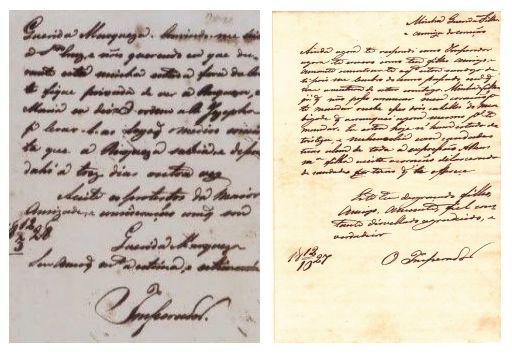Cartas destinadas a Titília, assinadas pelo Imperador.