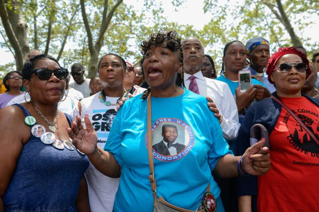 Gwen Carr, Eric Garner's mother, speaks in Brooklyn during a march commemorating the two-year anniversary...