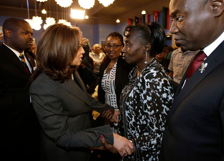 Sen. Kamala Harris speaks to Stephon Clark's grandmother in April 2018. Clark was an unarmed 22-year-old black father of two