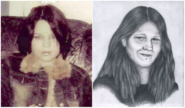 Photo de Mélina Martin avant sa disparition (à gauche) et vieillissement de la photo dévoilant...