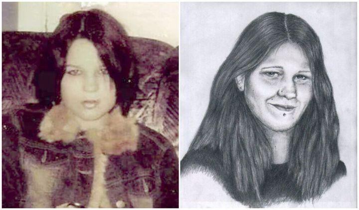 Photo de Mélina Martin avant sa disparition (à gauche) et vieillissement de la photo dévoilant ce qu'elle pourrait avoir l'air dans la vingtaine.