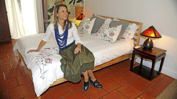 Short-term rental host Paola Ugolini at her Biscayne Park home, which was the most popular Airbnb listing in Florida. Some ju
