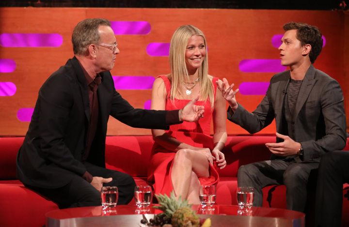 "Tom Hanks, Gwyneth Paltrow and Tom Holland during the filming for ""The Graham Norton Show."""