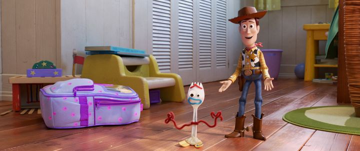 """Forky and Woody in """"Toy Story 4,"""" directed by Josh Cooley."""