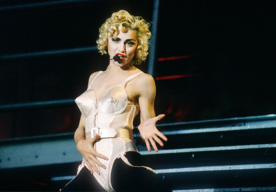 Madonna performing on her Blonde Ambition Tour in 1990.