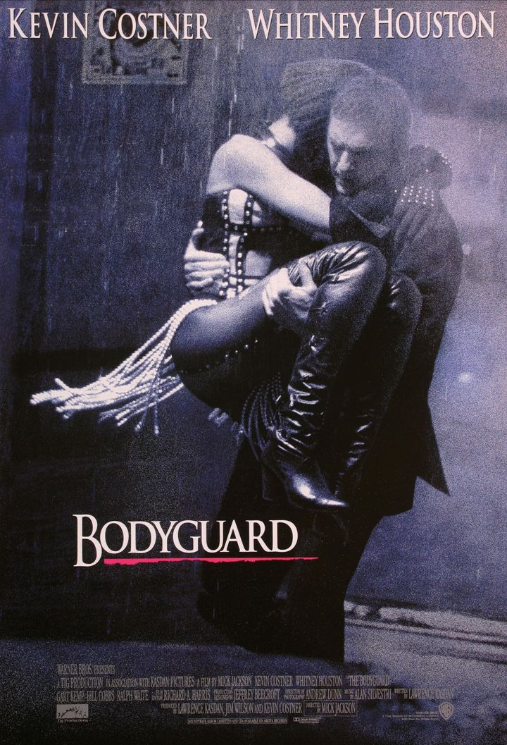 "The poster for 1992's ""The Bodyguard"" starring Kevin Costner and Whitney Houston."