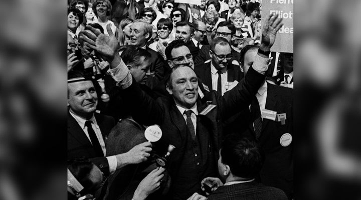 Pierre Elliott Trudeau raises his arms in the traditional victory sign after winning the leadership of the Liberal party of Canada In Ottawa April 6, 1968, before becoming prime minister.
